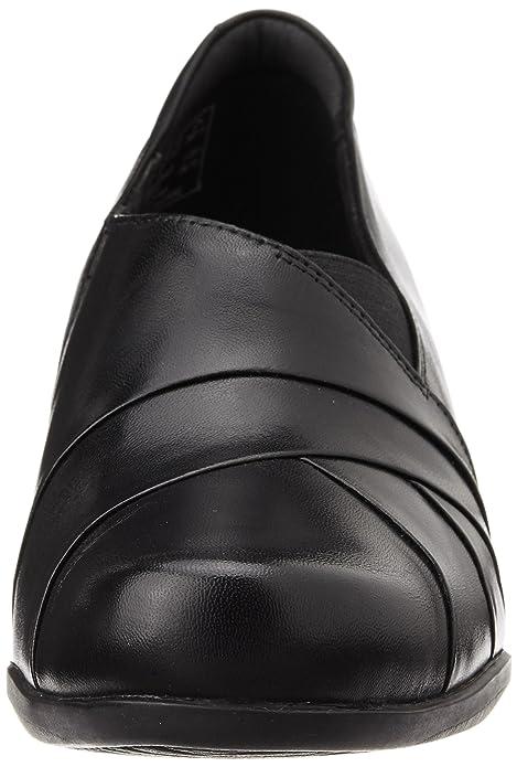 a951436f1faba1 Clarks Women s Slip-On Block Heel Shoes Rosalyn Adele Black Leather   Amazon.co.uk  Shoes   Bags
