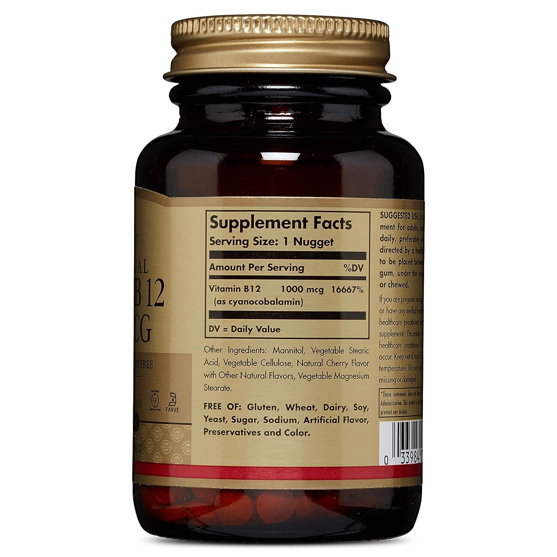 Amazon.com: Solgar - Vitamina B12, 1000 mcg, 250 Nuggets ...