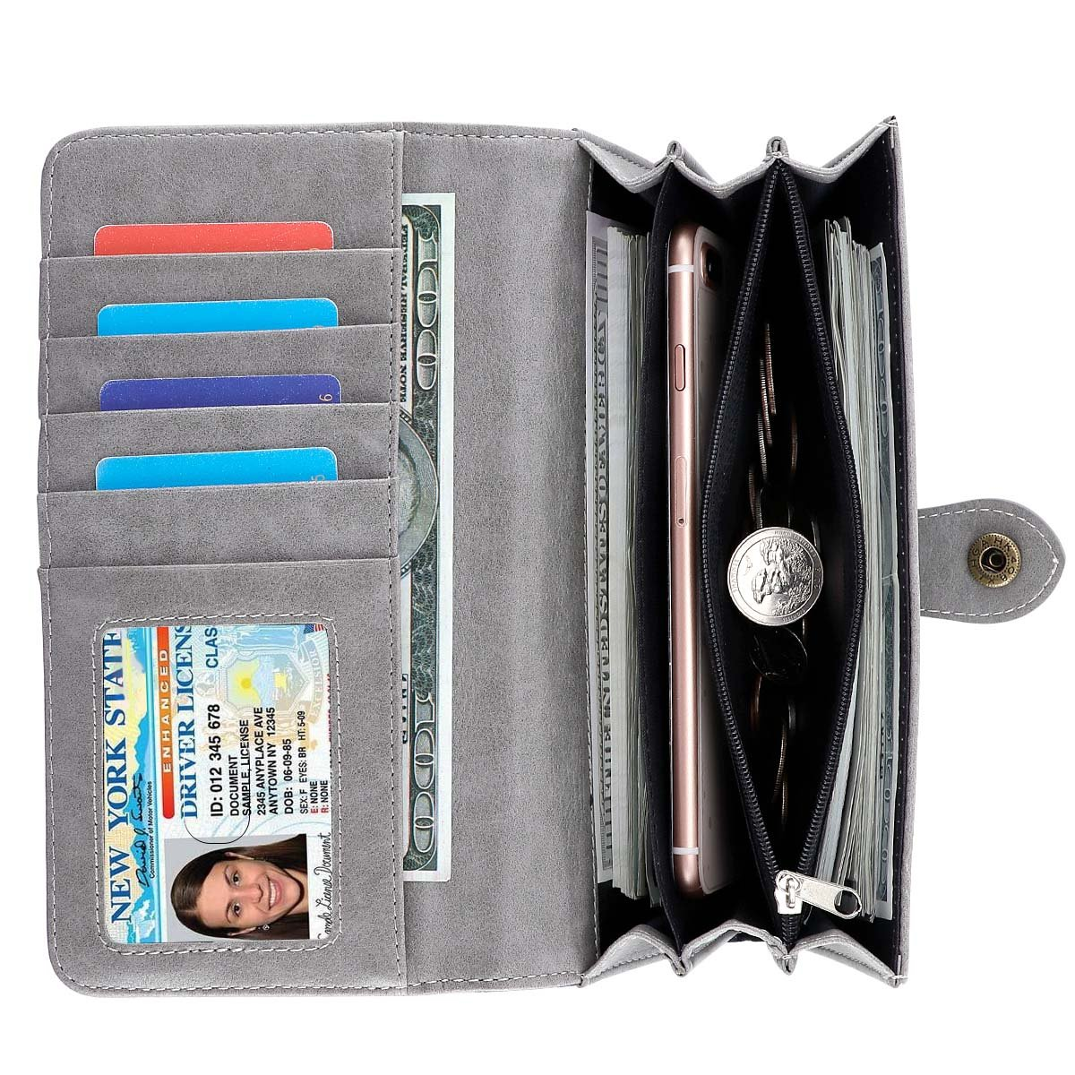Women Wallet Large Capacity Clutch Wallet Holder Purse with ID Window and Inner Zipper Pocket (Grey) by SMITHSURSEE BAG (Image #2)