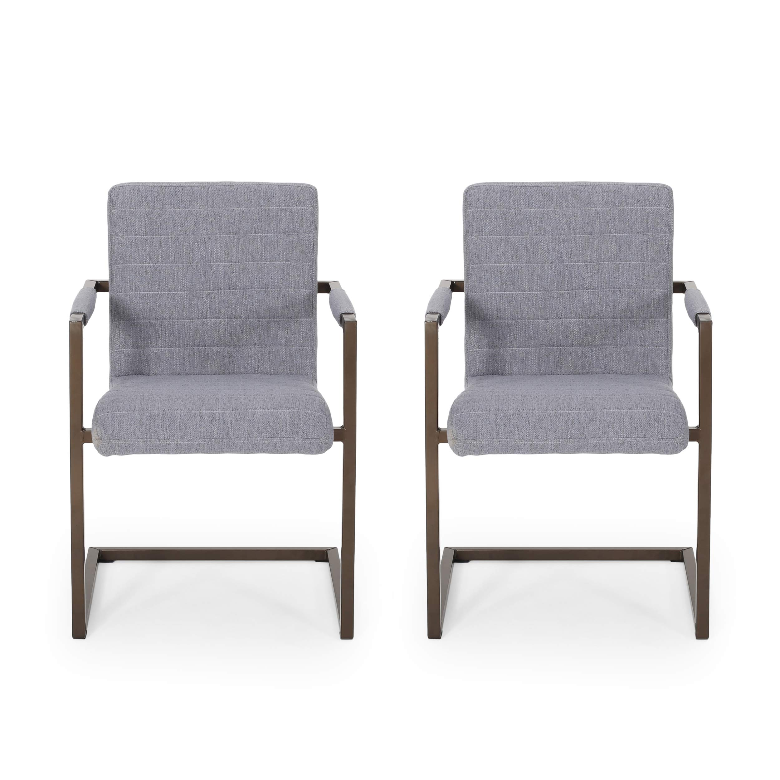 Lilith Modern Fabric Arm Chair (Set of 2), Charcoal and Bronze by Great Deal Furniture