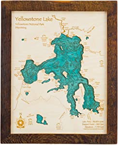 Lake Cypress Springs - Franklin County - TX - 2D Map 11 x 14 in (Brown Rustic Frame) - Laser Carved Wood Nautical Chart and Topographic Depth map.
