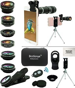 Kit Lente Cámara Teléfono, 11 En 1, Zoom 20x Universal, 0.63 Angulo Ancho+15x Macro+198°ojo pez+2x Telefoto+Caleidoscopio+CPL/Starlight/Eyemask/Tripod/ Remoto, For Mayoría Smartphones: Amazon.es: Electrónica