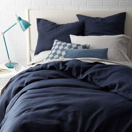 Belgian Flax Linen Shams – Midnight