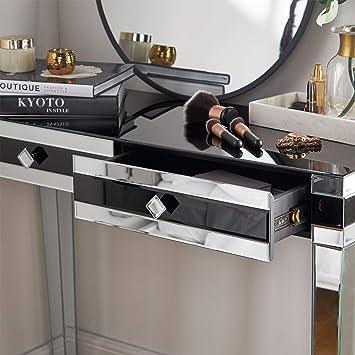 Beautify Tocador Consola Escritorio Negro con Espejos - 2 cajones de Almacenamiento Detalles del Producto en Amazon/Ebay: Amazon.es: Hogar