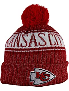 newest 606a0 18b5d KC CHIEFS Adult Winter Knit Beanie Hat With Removable Pom Pom One Size Fits  Most Multicolor