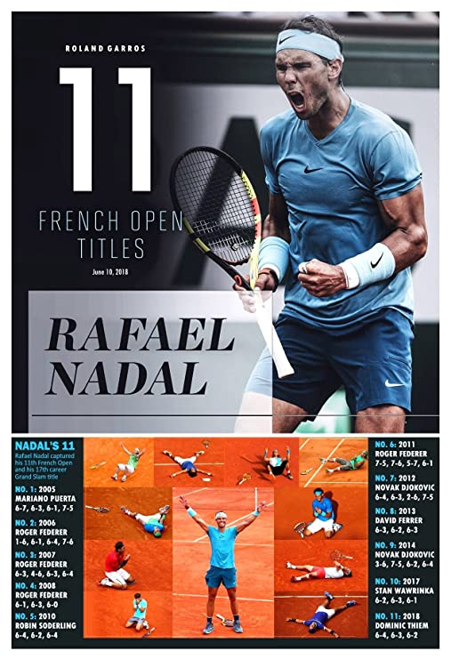 Amazon.com : PosterWarehouse2017 RAFAEL NADAL WINS HIS 11TH FRENCH OPEN COMMEMORATIVE POSTER : Sports & Outdoors