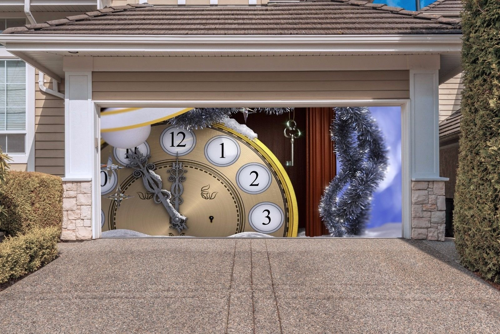 Christmas Clock Garage Door Covers Banners Outdoor Billboard for 2 Car Garage Door Murals Holiday Full Color 3D Print Christmas Decorations House Decor size 82x188 inches DAV39