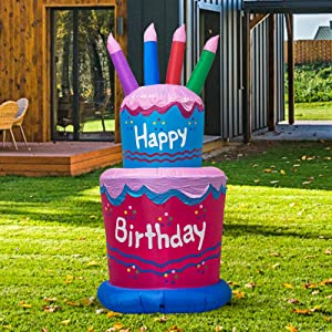 TRMESIA Inflatable 6FT Giant Birthday Cake, Suitable for Birthday Party Home Garden Decoration,Blow up Lighted Yard Decor