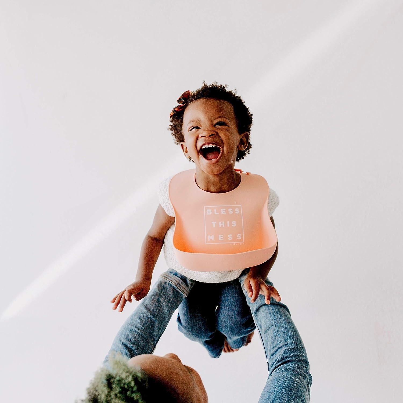 melocot/ón//Menta Simka Rose Baberos de Silicona Impermeables para beb/és y ni/ñas beb/és y ni/ños peque/ños Baberos de alimentaci/ón f/áciles de Limpiar-Excelente Regalo de Baby Shower-Juego de 2