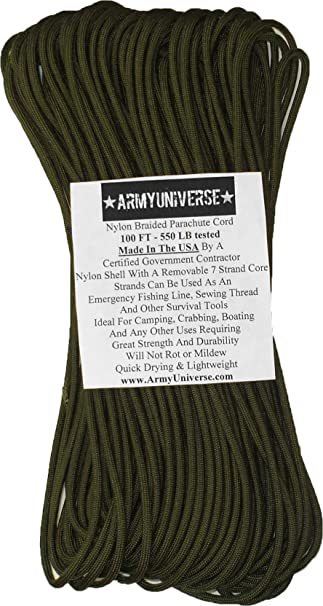 QUALITY UTILITY ROPE 7mm plain Army Olive heavy duty purlon strong Military cord