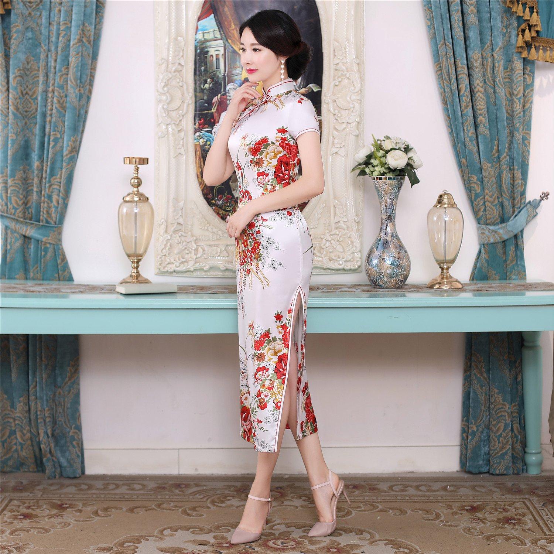 Shanghai Story Faux Silk Chinese Dress Long Cheongsam Floral Qipao for Women
