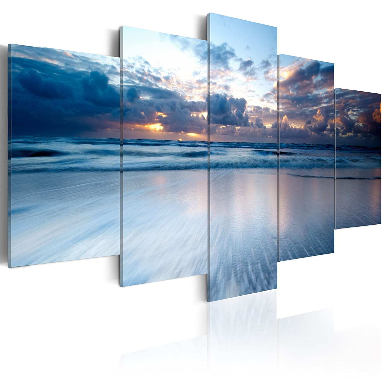 Murando - handbemalte Bilder auf Leinwand Strand 200x100 cm - 5 Teilig - Leinwandbilder - Wandbilder XXL - Kunst - Wandbild - Natur Ozean Meer 030212-50