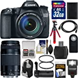 Canon EOS 70D Digital SLR Camera & EF-S 18-135mm IS STM Lens with 75-300mm III Lens + 32GB Card + Backpack + Flash + Battery + Grip + Flex Tripod Kit