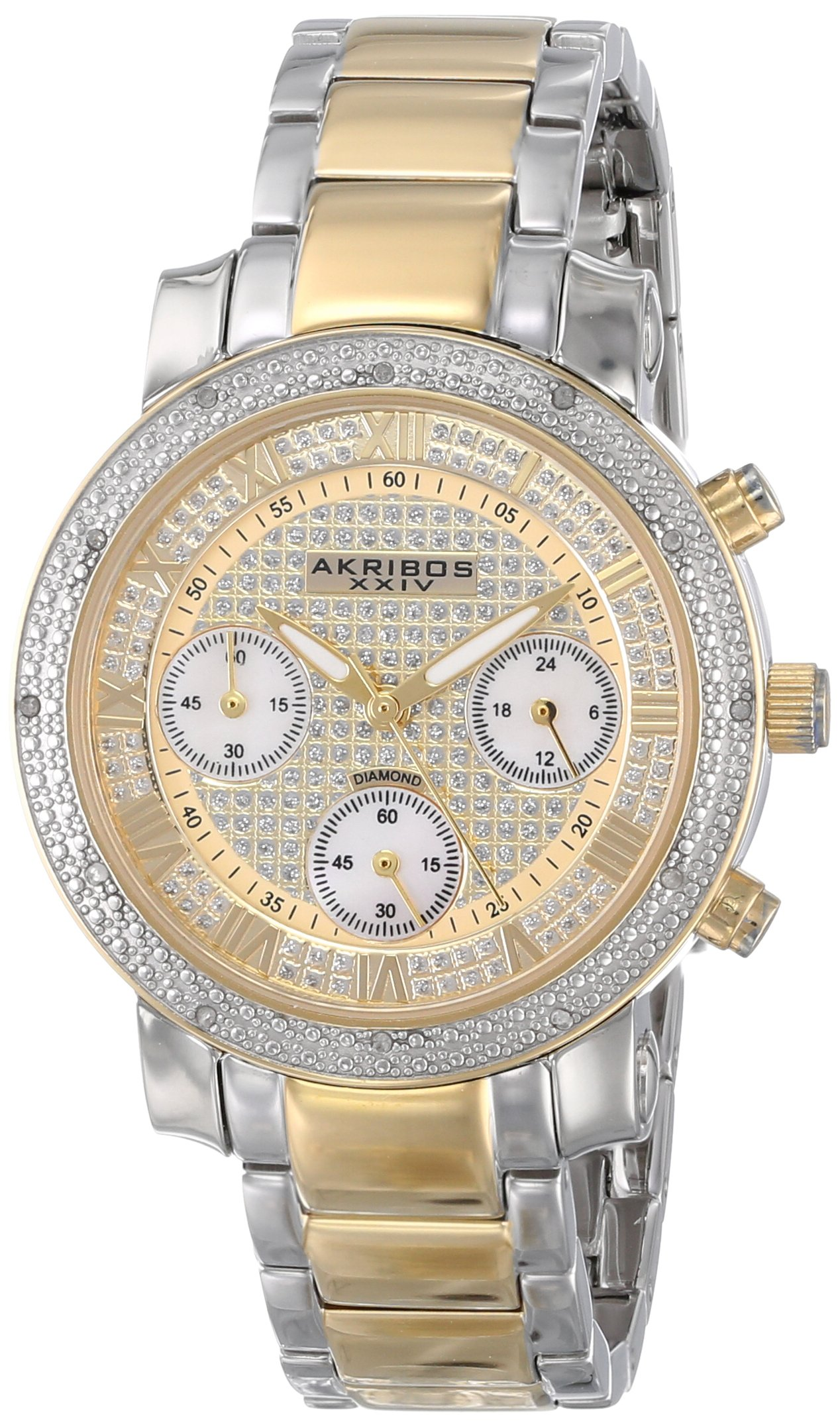 Akribos XXIV Women's AKR440YG Grandiose Dazzling Diamond Chronograph Stainelss Steel Bracelet Watch by Akribos XXIV