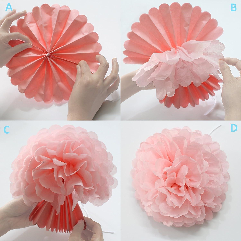 Party Decoration Kit 20 Pcs Mint Peach Glitter Gold Tissue Paper Pom