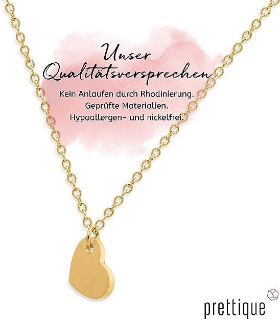 prettique® Kette mit Herz aus Edelstahl – Vergoldet mit 18