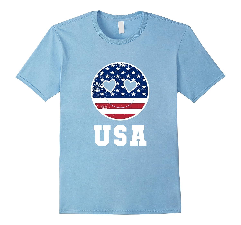 4th Of July Emoji Smile Hearts American Flag USA T-Shirt
