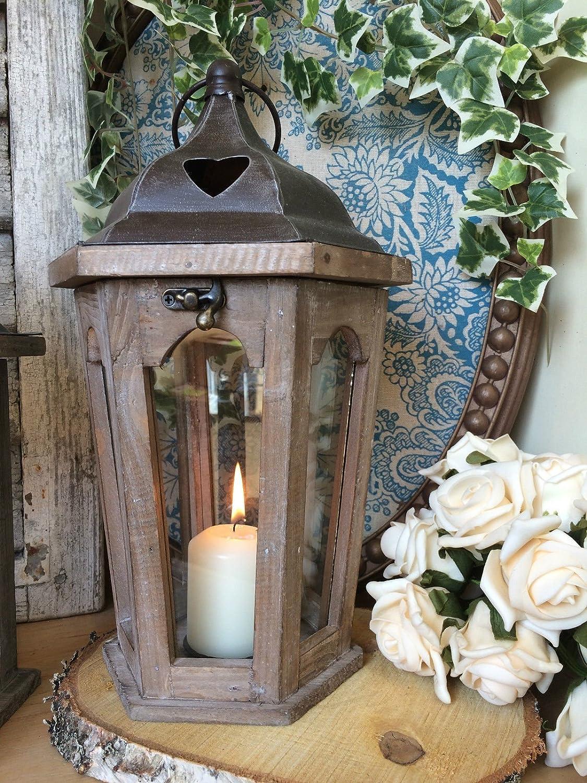 Metal Top da giardino portacandele Lanterna in legno e metallo vintage Hexagonal Black decorazione da matrimonio