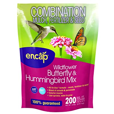 Encap 10810-6 Wildflowers Butterfly and Hummingbird Mix, 2 Pounds, 200-Square Feet Cover : Mulches : Garden & Outdoor