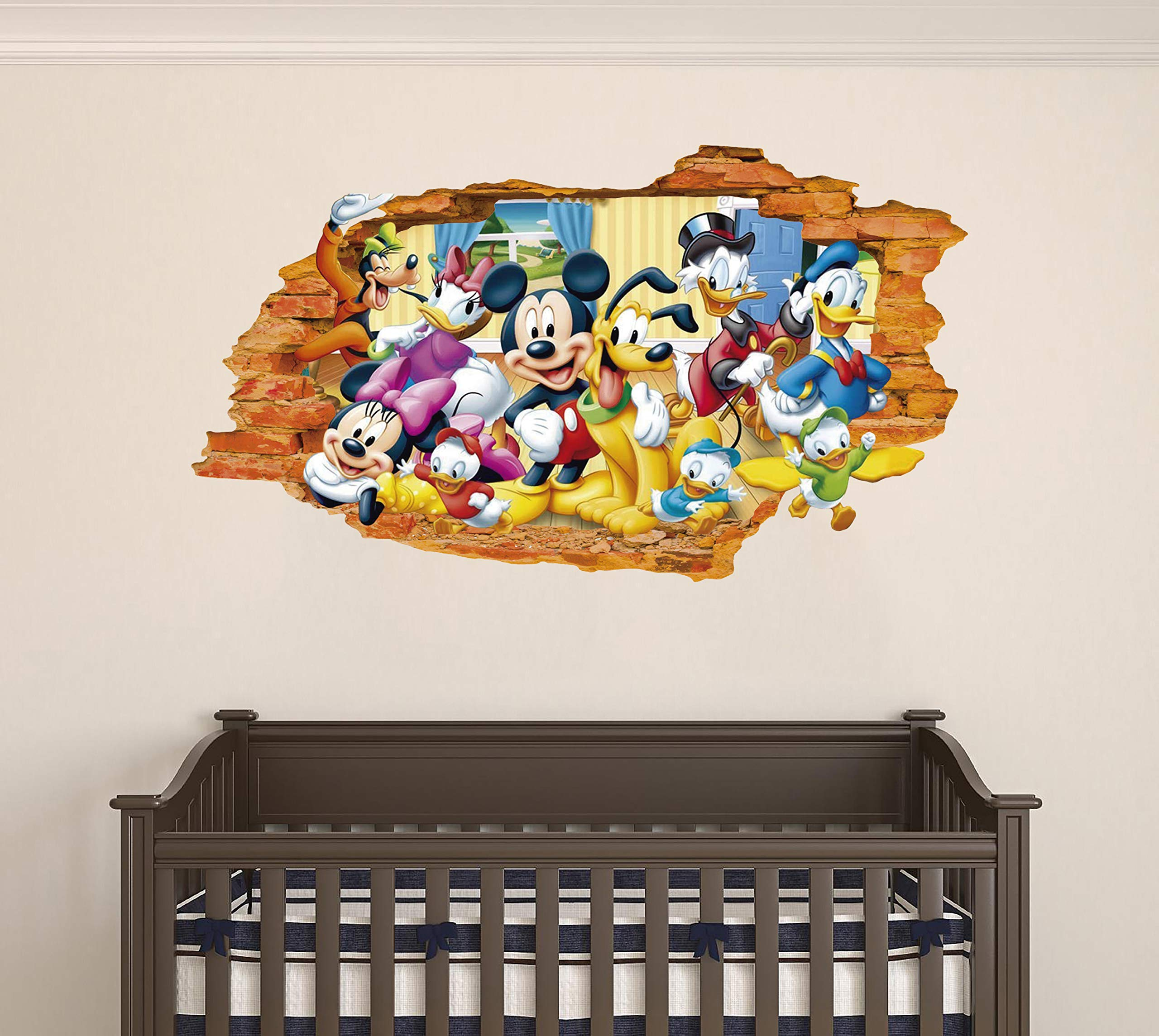 Mickey Mouse and Friends - 3D Smashed Wall Effect - Wall Decal for Home Nursery Decoration (Wide 20''x11'' Height inches)