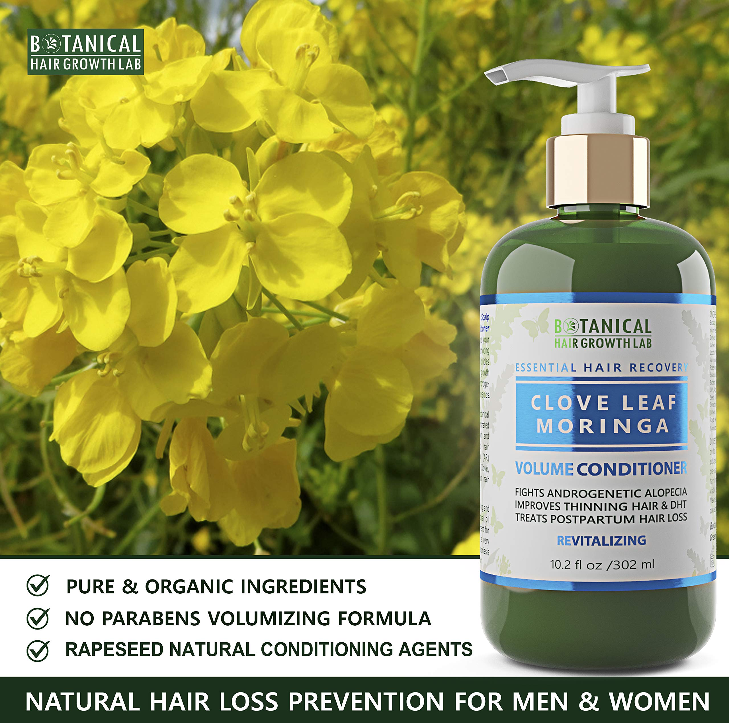 Botanical Hair Growth Lab Biotin Conditioner - Clove Leaf Moringa Formula - Anti Hair Loss Complex - DHT Blockers, Sulfate Free, Natural Ingredients for Men & Women by BOTANICAL HAIR GROWTH LAB (Image #6)