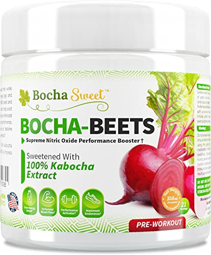 BochaSweet Bocha-Beets Nitric Oxide Booster Pre Workout Supplement - Organic Beet Root Juice Powder Citrulline, Betaine, BCAAs Electrolytes, 100 Kabocha Extract Sweetened, Perfect for Keto Diet