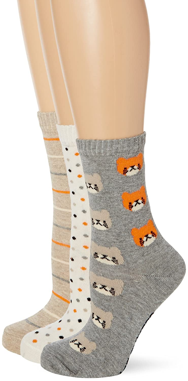 Miss Outrage Women's 3Pk O Cotton Orange Cat Casual Socks Grey LSHMO185STL