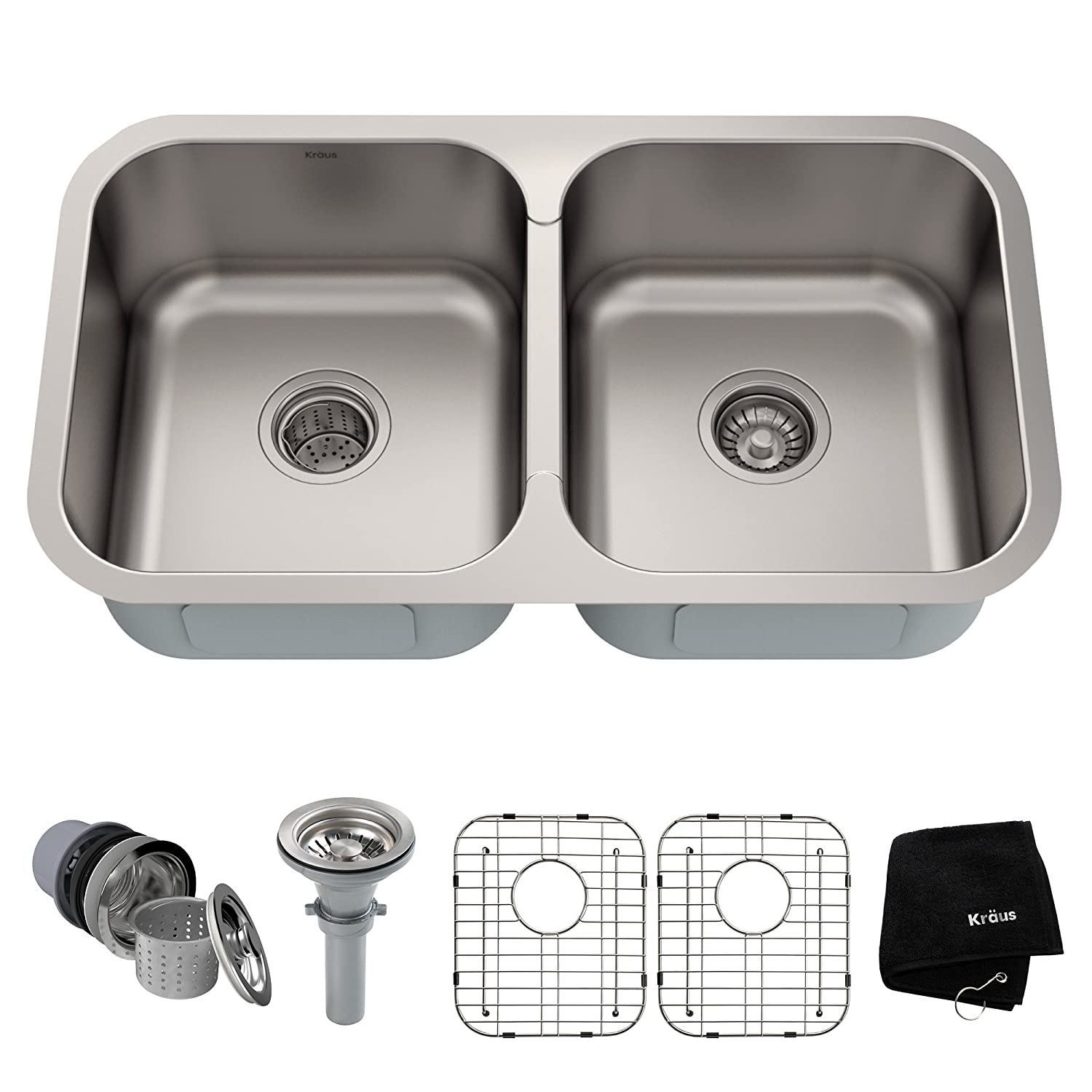 Kraus KBU29 32 inch Undermount 50/50 Double Bowl 18 gauge Stainless on stainless apron kitchen sinks, stainless kitchen cabinets, deep undermount laundry sinks, at home depot kitchen sinks, commercial kitchen sinks, large kitchen sinks, stainless undermount prep sinks, large single basin sinks, lowes undermount sinks, colored kitchen sinks, eljer kitchen sinks, ceramic kitchen sinks, stainless farm sinks for kitchens, s.s. sinks, 36 kitchen sinks, under the counter kitchen sinks, stainless bathroom sinks, stainless steel undermount kitchen sinks47.2, sterling stainless sinks, rv kitchen sinks,