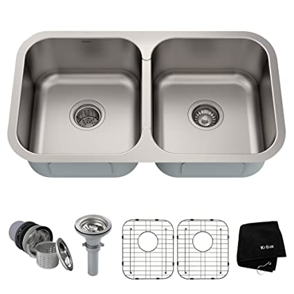 Awesome Kraus KBU29 32 Inch Undermount 50/50 Double Bowl 18 Gauge Stainless Steel  Kitchen Sink