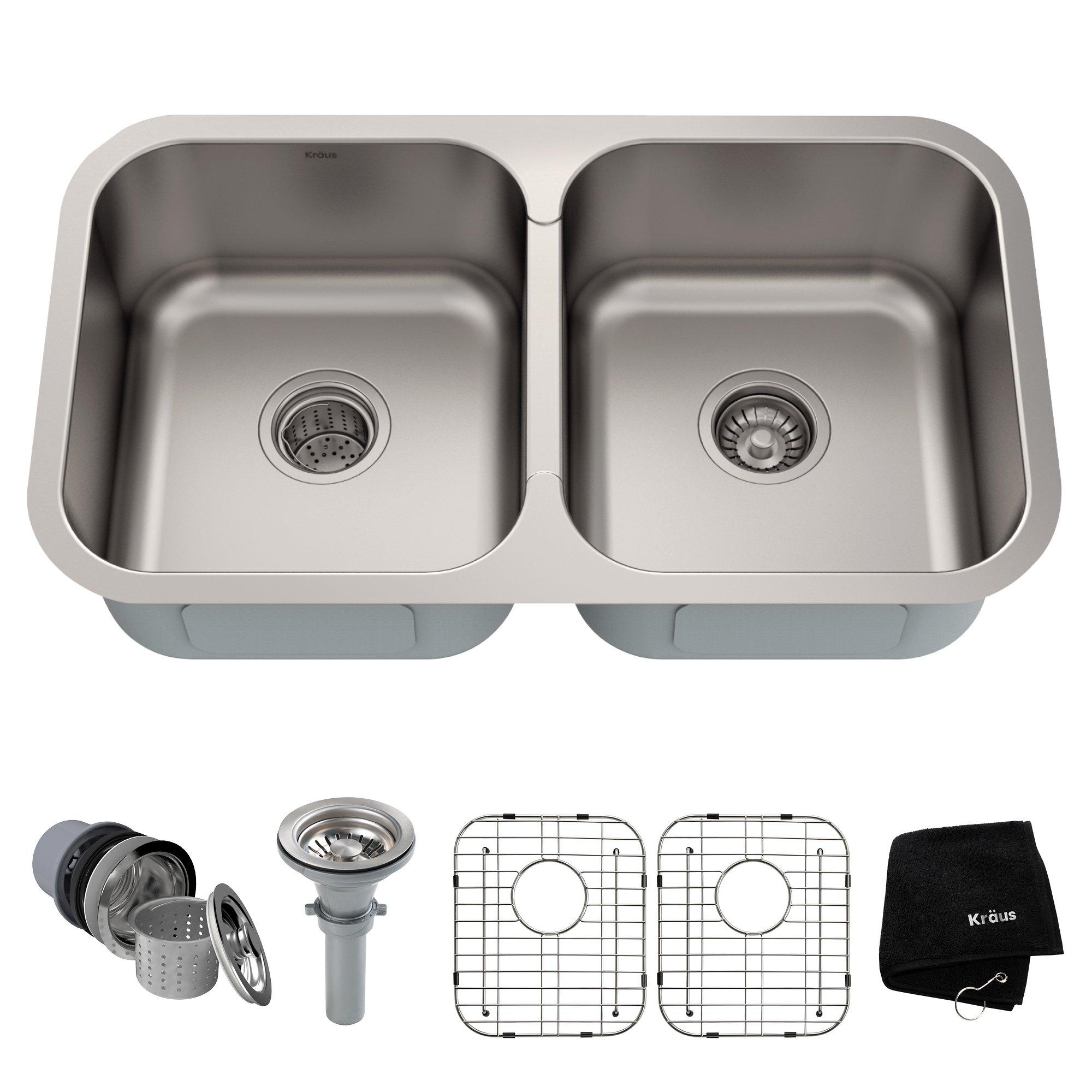 Kraus KBU29 32 inch Undermount 50/50 Double Bowl 18 gauge Stainless Steel Kitchen Sink