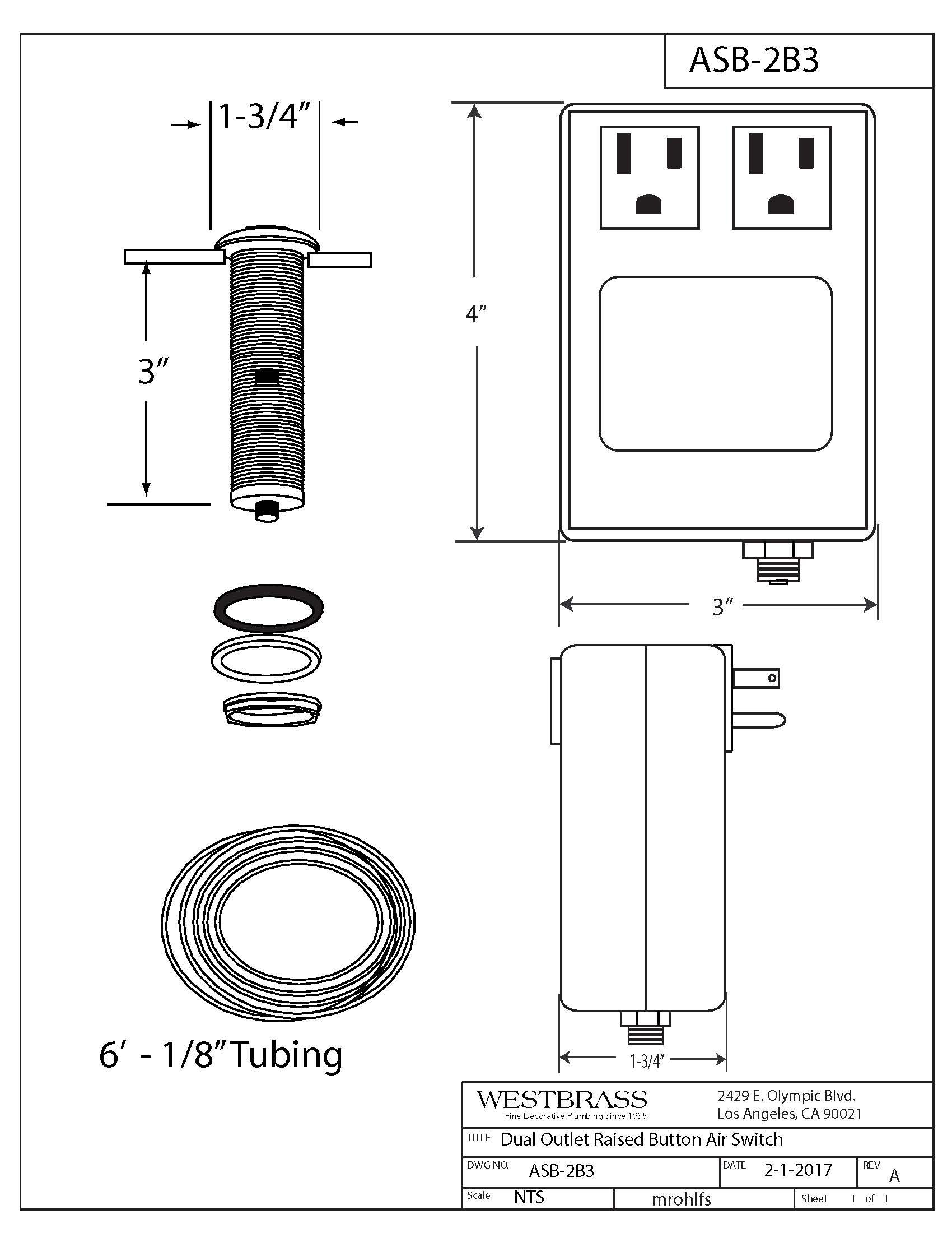 Westbrass RASB-2B3-05 Flush Button Air Switch & Dual Outlet Box, Polished Nickel by Westbrass (Image #2)
