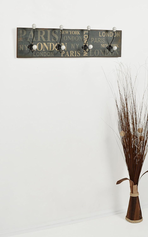 "ts-ideen 2372 Appendiabiti da parete ""London"" 20x80 cm stile ..."