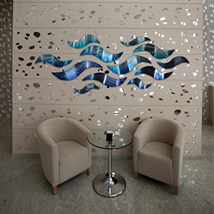 U0026quot;Rip Tideu0026quot; Modern Abstract Large Metal Wall Art Sculpture Metal  Panels Blue Silver