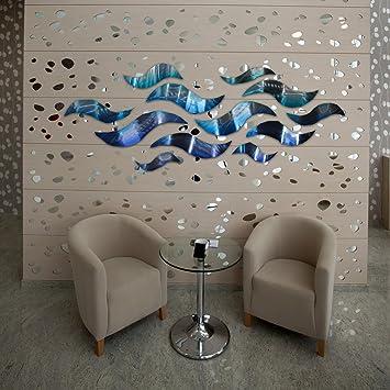 U0026quot;Rip Tideu0026quot; Modern Abstract Large Metal Wall Art Sculpture Metal  Panels Blue Silver