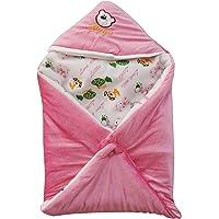 My Newborn Baby Fleece Blanket Wrapper Multipurpose Sleeping Bag with Hood Cap, 27 x 27 Inches, Pink