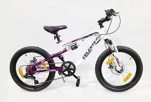 Bicicleta de montaña de 20 pulgadas con doble freno de disco – 6 velocidades con asa revolucionaria, rueda libre y cambio Shimano: Amazon.es: Deportes y aire libre