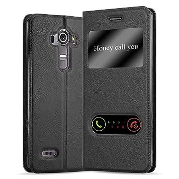 Cadorabo Funda Libro para LG G4 / G4 Plus en Negro Cometa - Cubierta Proteccíon con Cierre Magnético, Función de Suporte y 2 Ventanas- View Case Cover ...