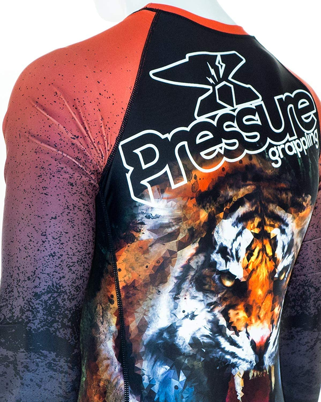 Pressure Grappling Mens Premium BJJ Short Sleeve Belt Rank Rash Guards with Lockdown Band