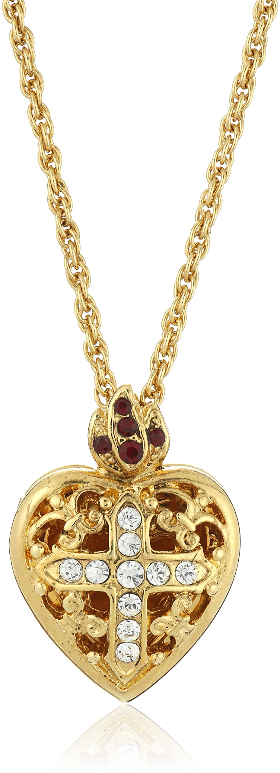 Symbols of Faith Inspirations 14k Gold-Dipped Crystal Heart Cross Locket Necklace, 17.5 inches