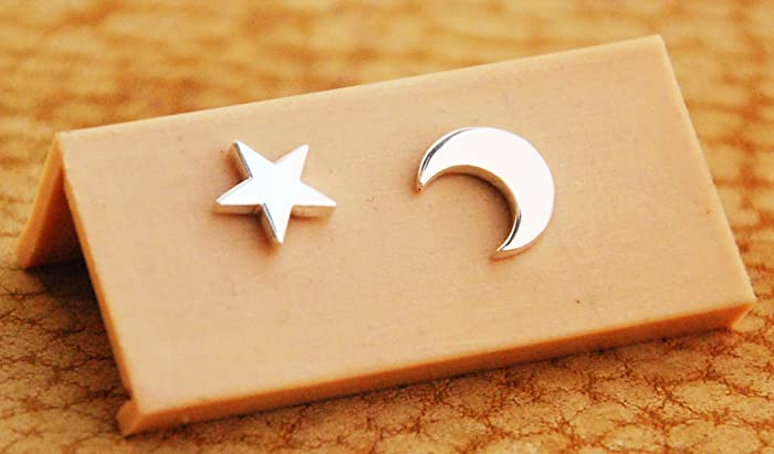 a52438e57183 Aretes De Plata Luna Y Estrella