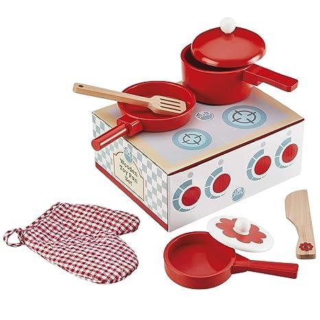 My Play Juego de Juguetes para niños Juego de Cocina de Madera con cacerolas y Utensilios