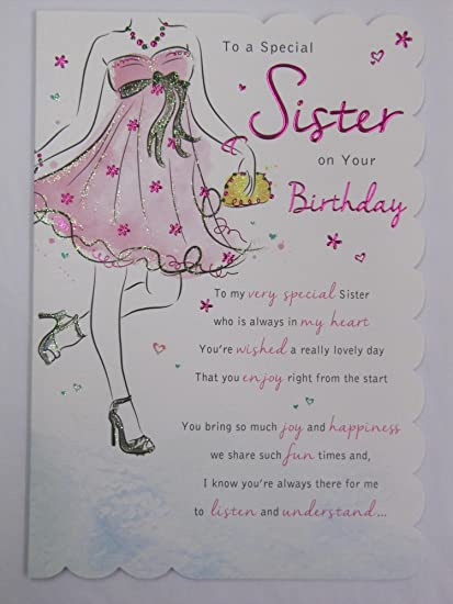 STUNNING TOP RANGE WONDERFULLY WORDED 5 VERSE TO A SPECIAL SISTER BIRTHDAY CARD Amazoncouk Kitchen Home