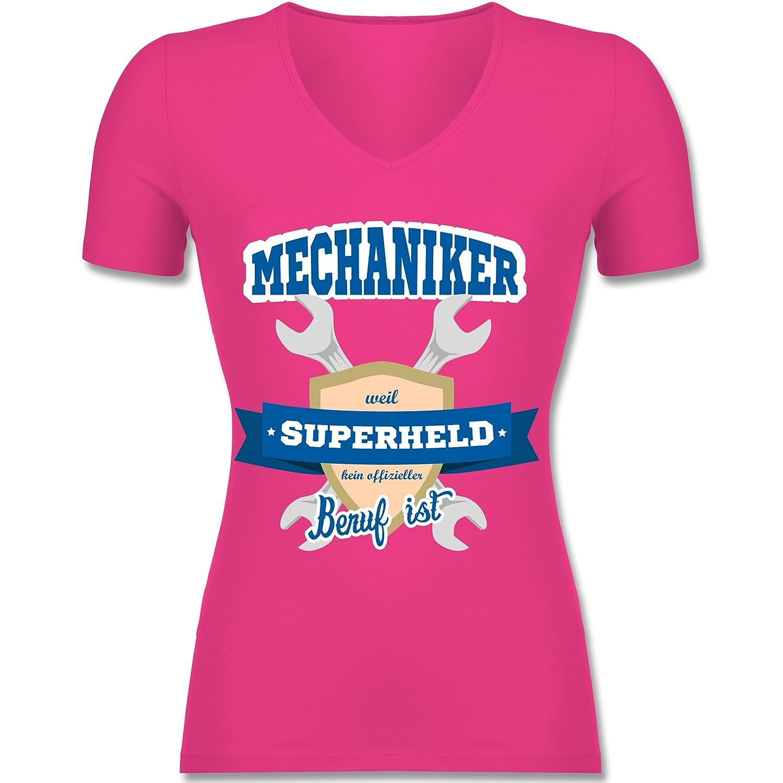Shirtracer Handwerk - Mechaniker - weil Superheld kein offizieller Beruf  ist - Tailliertes T-Shirt mit V-Ausschnitt für Frauen: Shirtracer:  Amazon.de: ...
