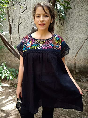 Amazon.com: Women\'s Mexican Embroidered Black Tunic Blouse ...