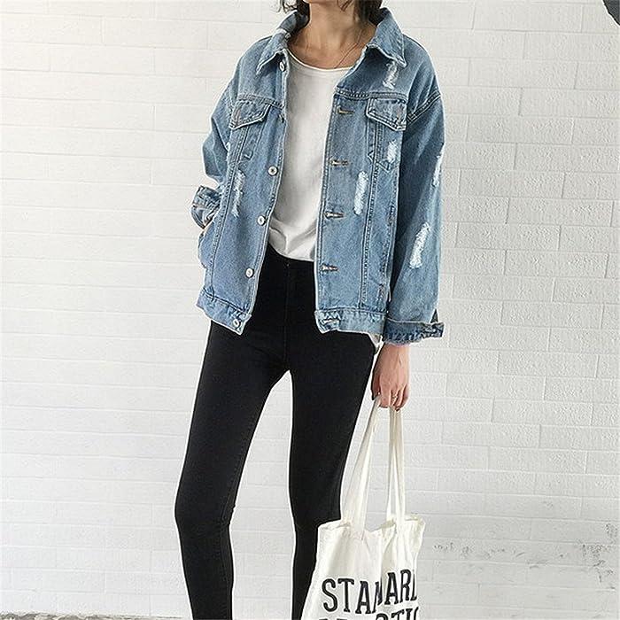 Shining4U Jean Jackets New Spring Women Denim Coats Loose Long Sleeved Female Jacket Large Size Mujer