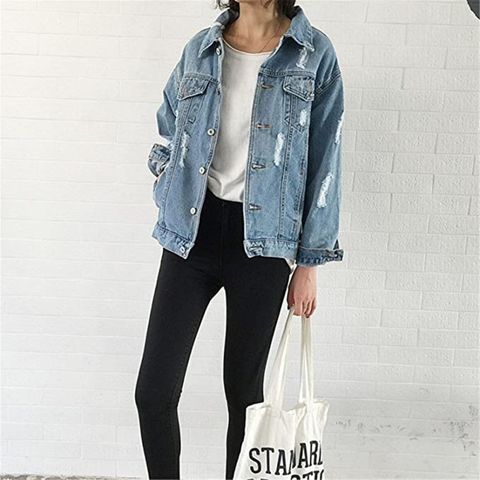 LOKOUO Jean Jackets New Spring Women Denim Coats Loose Long Sleeved Female Jacket Large Size Mujer at Amazon Womens Coats Shop
