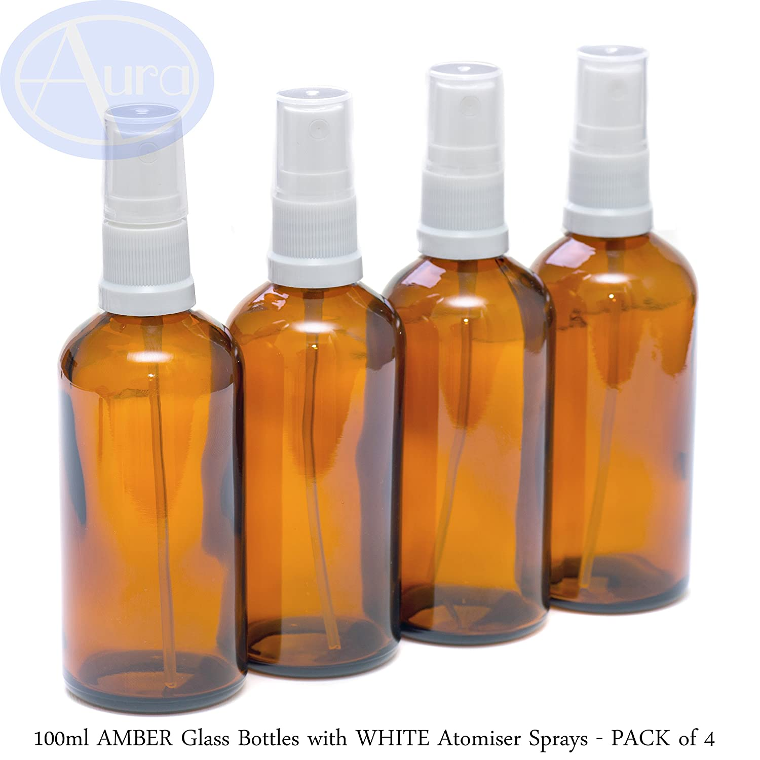 PACK of 4 - 100ml AMBER Glass Bottles with White ATOMISER Sprays. Essential Oil / Aromatherapy Use Aura Essential Oils Y100A4