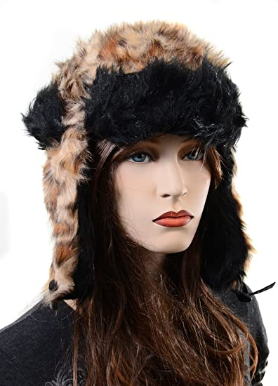eac56b19abe Image Unavailable. Image not available for. Color  Furry All Over Vegan  Friendly Leopard Cold Weather Ushanka Trapper Hat