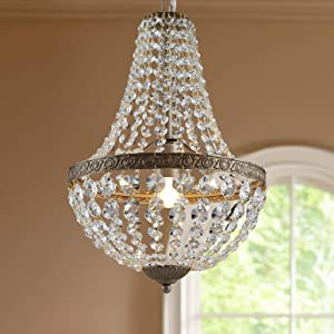 French Empire Antique Silver Finish Farmhouse Crystal Pendant Chandelier Lighting LED Ceiling Light Fixture Lamp Dining Room Bathroom Bedroom Livingroom 1 E26 Bulbs Required H18 inch X D12 inc