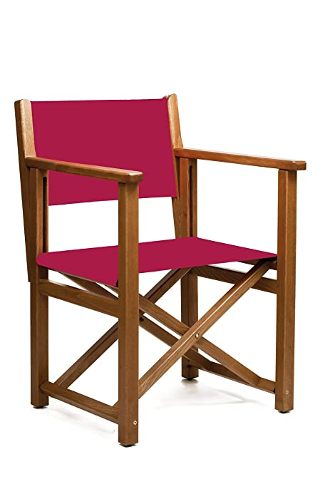 AUTENTICA Silla Menorquina - Silla Director - Silla Plegable en Madera para TERRAZA y Jardin en Color Brandy Y Tela ACRILICA Color Burdeos
